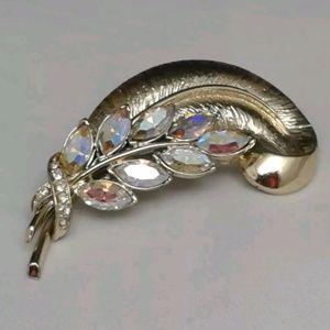 Vintage Coro Pegasus AB Rhinestone Feather Brooch